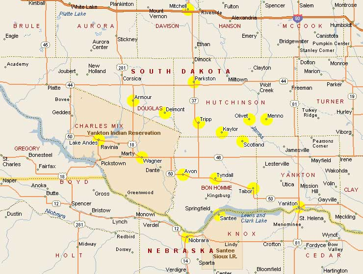 North and South Dakota The Quiet States – South Dakota Tourist Map