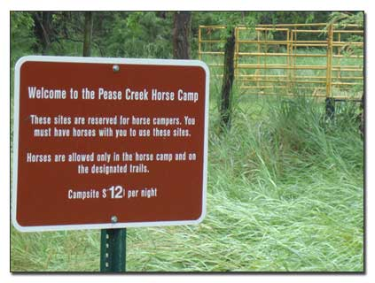 Horse camp sign with fees